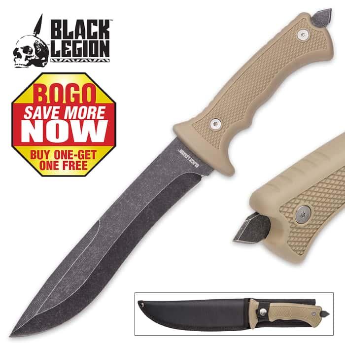 Black Legion Desert Warrior Tan Fixed Blade Knife - BOGO