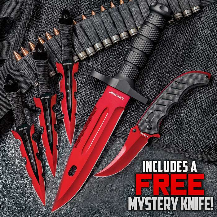 Black Legion Red Fury Knife Set - Stainless Steel Blades, Heavy-Duty TPU Handles, Sheaths Included, Survival, Throwing And Pocket Knives, Free Mystery Knife