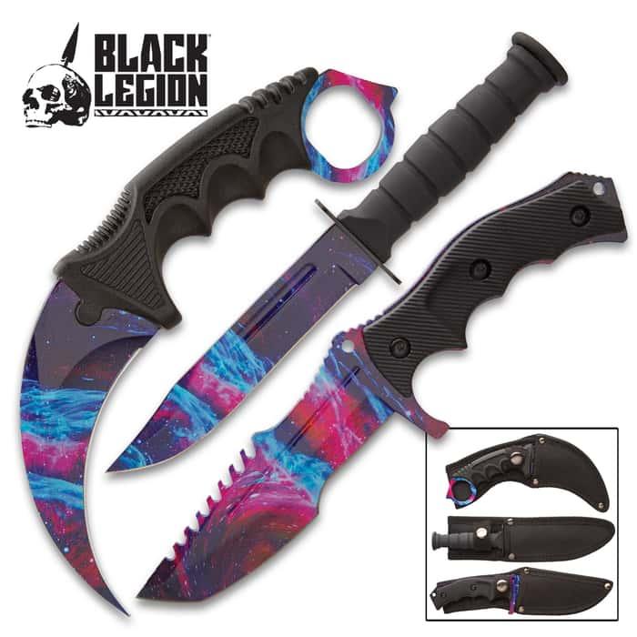 Black Legion Cosmic Triple Knife Set - Karambit, Hunter Knife, Survival Knife, Stainless Steel Blades, TPU Handles, Nylon Sheaths