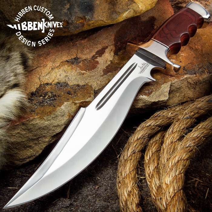 Gil Hibben Legionnaire Bowie Knife II With Leather Belt Sheath - 7Cr17 Stainless Steel Blade, Dark Brown Pakkawood Handle, Stainless Steel Guard And Pommel