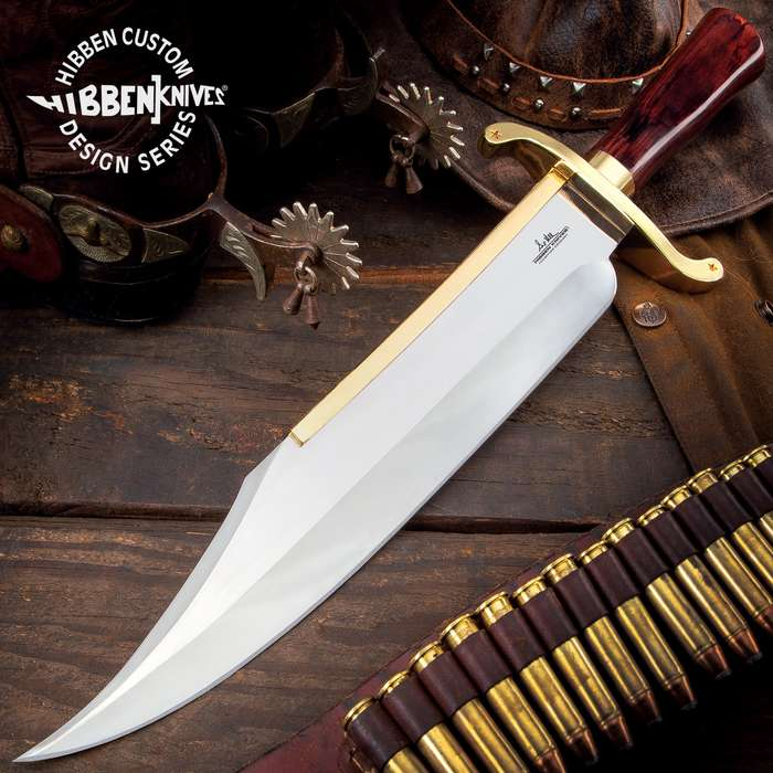Gil Hibben Old West Bowie Knife - Bloodwood Edition - Stainless Steel Blade, Wooden Handle, Gold-Plated Guard, Leather Sheath - Length 20 1/2""