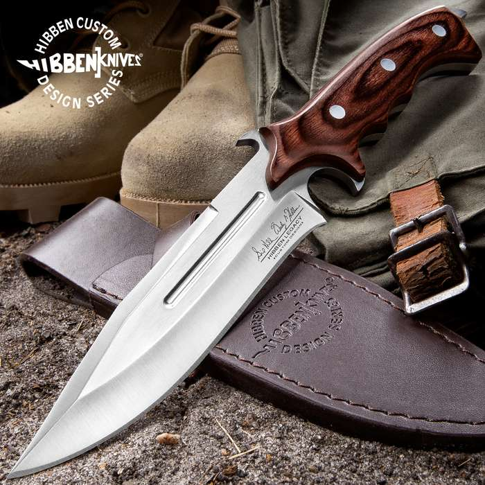 United Cutlery Hibben Legacy Combat Fighter Knife II With Leather Sheath - 7Cr17 Stainless Steel Blade, Brown Pakkawood Handle, Trigger Finger Grip