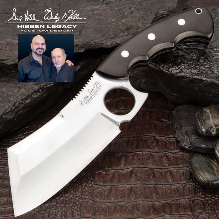"Hibben Legacy Ebony Cleaver Knife With Sheath, Black Linen Micarta Handle Scales - Length 10 3/4"""