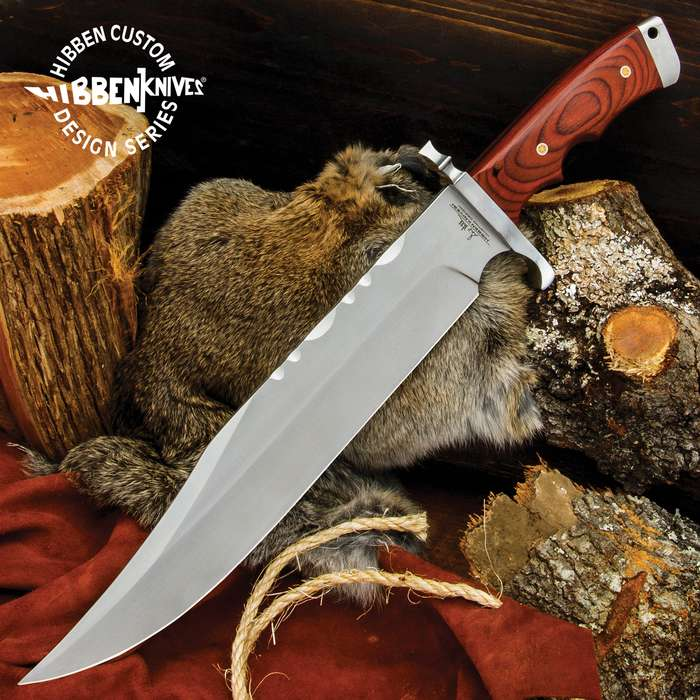 The Hibben Bloodwood Magnum Bowie Knife, crafted by noted knife designer Gil Hibben, really is a beast of a bowie knife