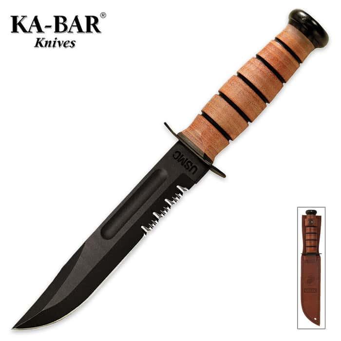KA-BAR USMC Part Serrated Knife with Leather Sheath