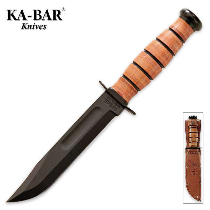 KA-BAR Navy Straight Bowie Knife with Leather Sheath