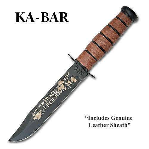 Kabar Marine Iraqi Freedom Bowie Knife with Leather Sheath