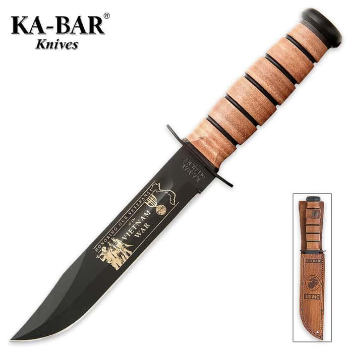 KA-BAR USMC Vietnam Bowie Knife with Leather Sheath