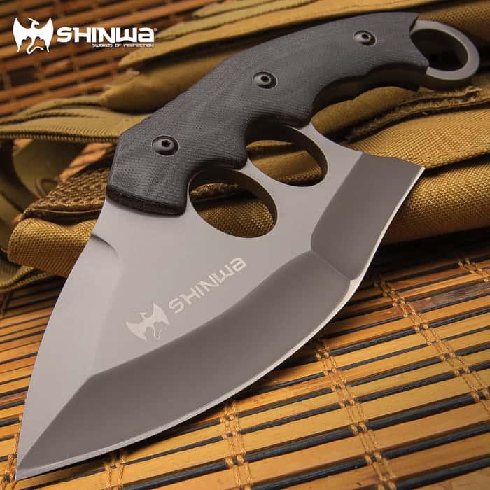 "Shinwa Yaobai Ulu Knife And Sheath - 3Cr13 Stainless Steel Blade, Non-Reflective Finish, G10 Handle Scales - Length 7 3/4"""