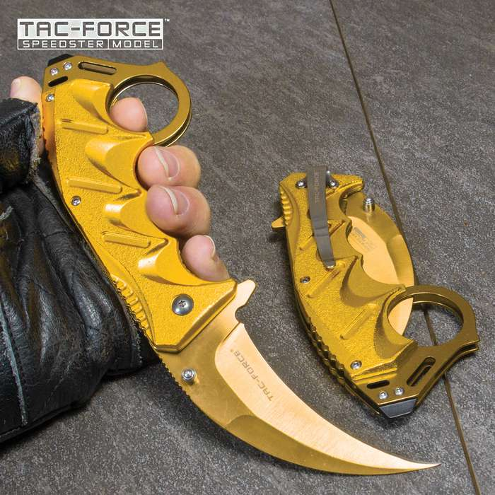 """8"""" Gold Spring Assisted Open Folding Pocket Knife Karambit Claw Combat Tactical"""
