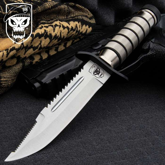 """10"""" TACTICAL SURVIVAL Hunting FIXED BLADE KNIFE Army Bowie w/ SHEATH"""