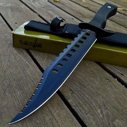 """17"""" RAMBO TACTICAL Combat Survival FIXED BLADE KNIFE Machete Bowie w/ SHEATH"""