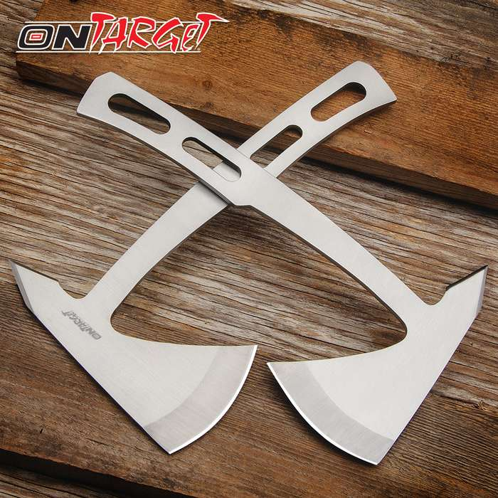"""On Target Throwing Axe Set With Sheaths - One-Piece Stainless Steel Construction, Blade Edge And Spike - Length 9 1/4"""""""