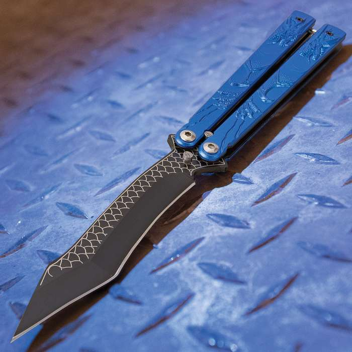 Blue Dragon Butterfly Knife - Stainless Steel Blade, Molded Steel Handle, Latch Lock, Double Flippers - Length 9 1/4""