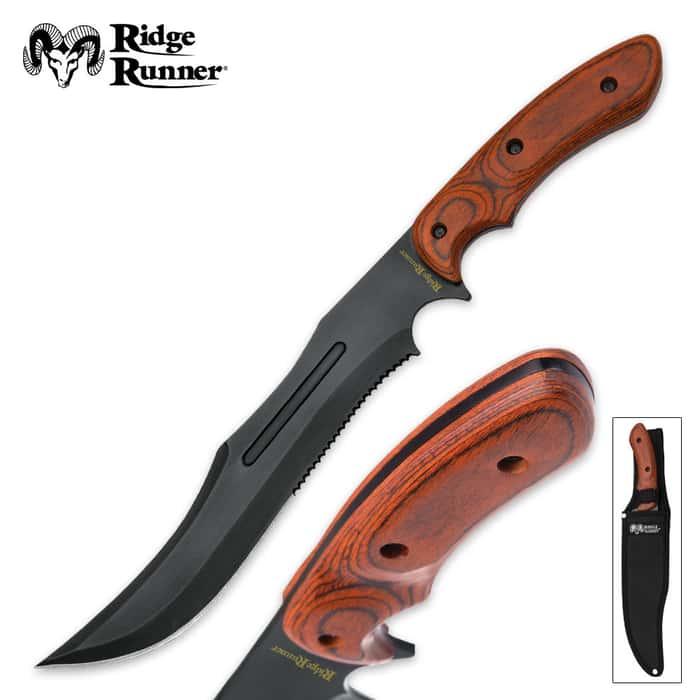 Ridge Runner Woodsman Survival Fixed Blade Knife with Nylon Sheath