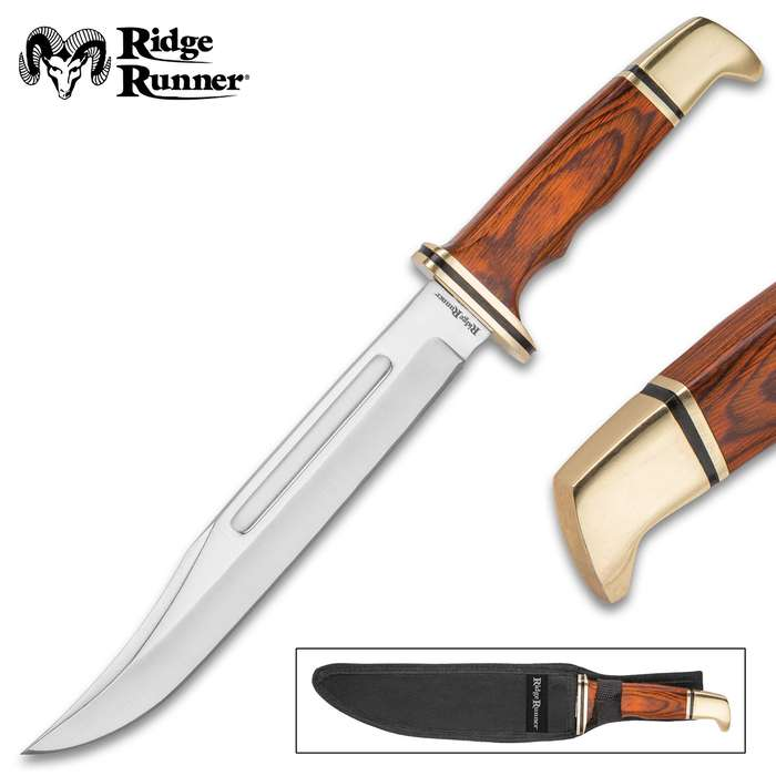 """Ridge Runner Gold Miner Fixed Blade Knife With Sheath - 3Cr13 Stainless Steel Blade, Wooden Handle, Brass Pommel And Guard - Length 12"""""""