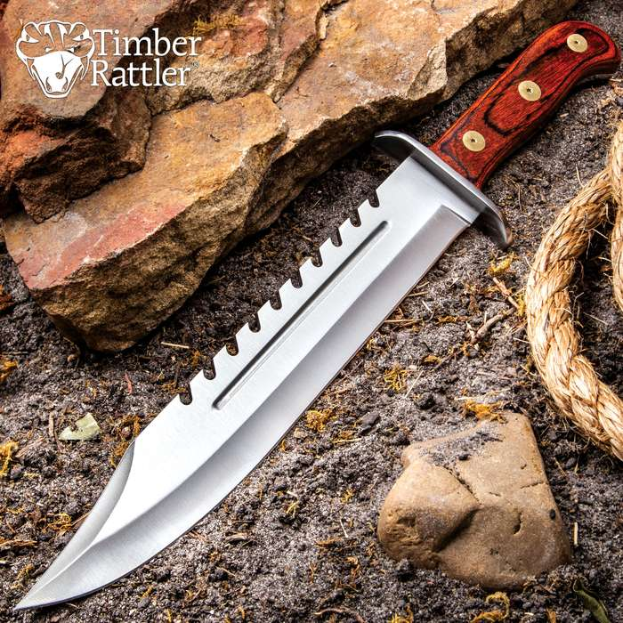 """Timber Rattler Sawback Mountain Bowie Knife With Sheath - Stainless Steel Blade, Full-Tang, Pakkawood Handle - Length 16 1/2"""""""