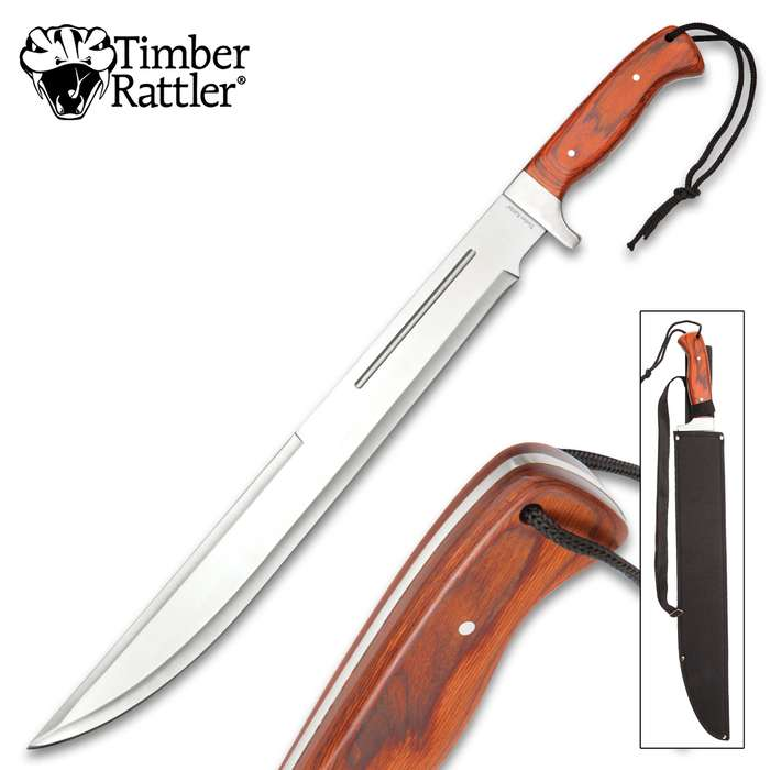 Timber Rattler Full-Tang Jungle Beast Machete - Stainless Steel Blade, Wooden Handle, Lanyard Cord - Length 25""