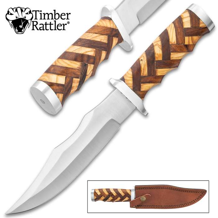 """Timber Rattler Handcrafted Heirloom Bowie Knife And Sheath - Stainless Steel Blade, Walnut And Olive Wood Handle, Stainless Steel Guard And Pommel - Length 12"""""""