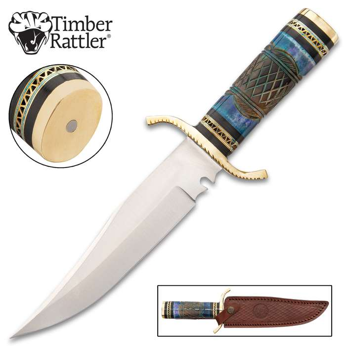 """Timber Rattler Nile Hunter Knife With Sheath - Stainless Steel Blade, Bone Handle, Brass Guard And Pommel - Length 12"""""""