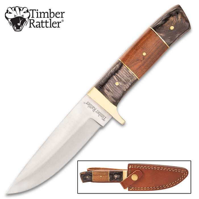 """Timber Rattler Buccaneer Knife With Sheath - Stainless Steel Blade, Wooden Handle Scales, Brass Handguard - Length 9"""""""