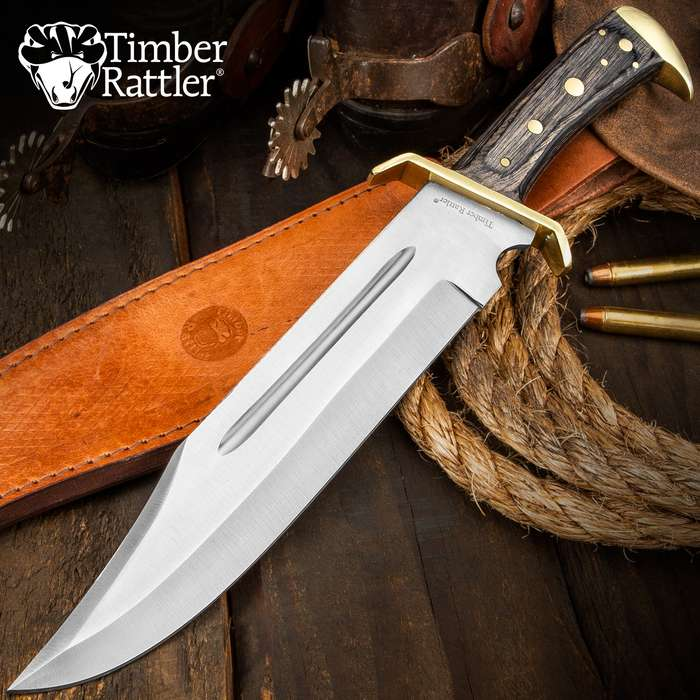 "Timber Rattler Western Outlaw Full Tang Bowie Knife With Leather Sheath -Brass Plated Guard, Hardwood Handle - 11 3/8"" Length"