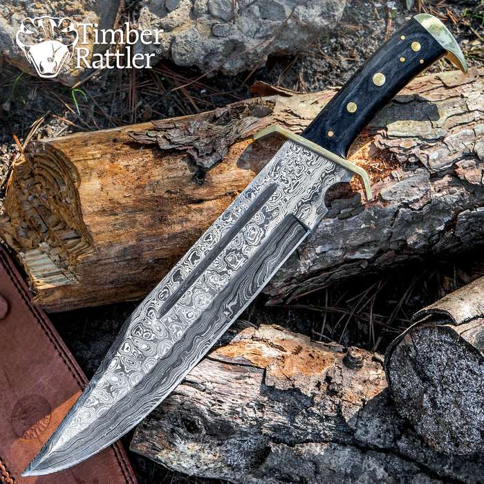Timber Rattler Western Outlaw Damascus Bowie Knife