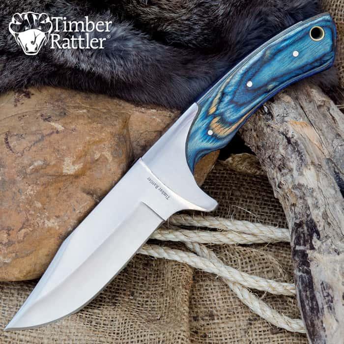 Timber Rattler Blue Pakkawood Skinning Knife