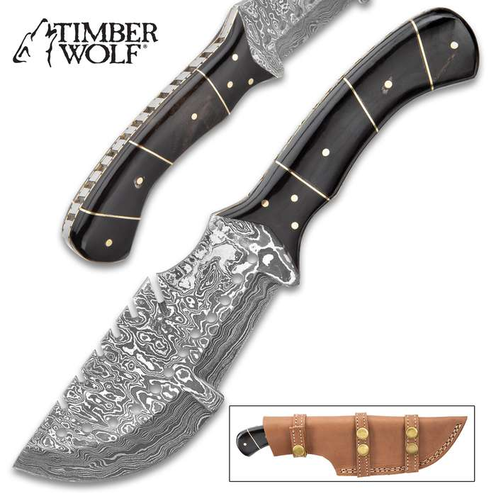 """Timber Wolf Trojan Damascus Knife - Damascus Steel Blade, Full-Tang, Genuine Horn Handle Scales, Fileworked Tang - Length 10"""""""