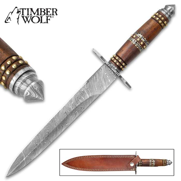 """Timber Wolf Tower Guard Dagger And Sheath - Damascus Steel Blade, Wooden Handle, Brass Accents, Damascus Guard - Length 16"""""""