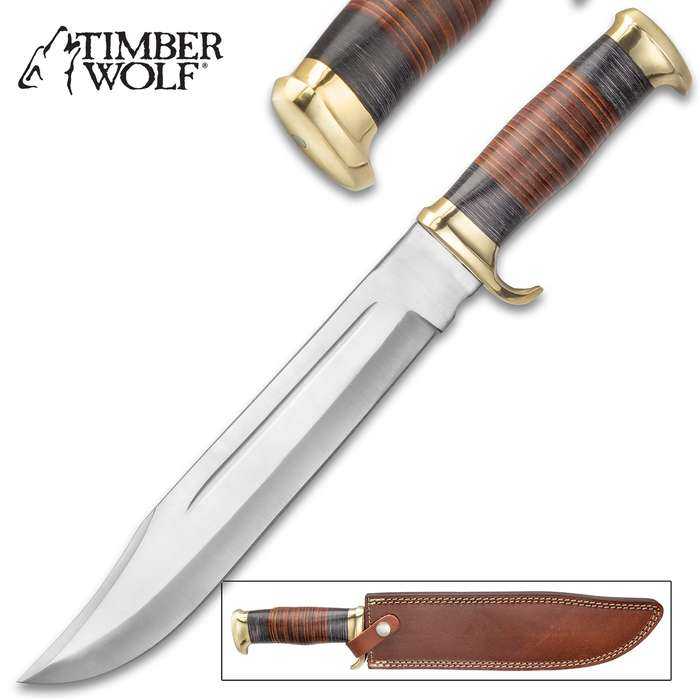 """Timber Wolf Homesteader Knife With Sheath - Stainless Steel Blade, Wooden Handle, Brass Guard And Pommel - Length 16 1/4"""""""
