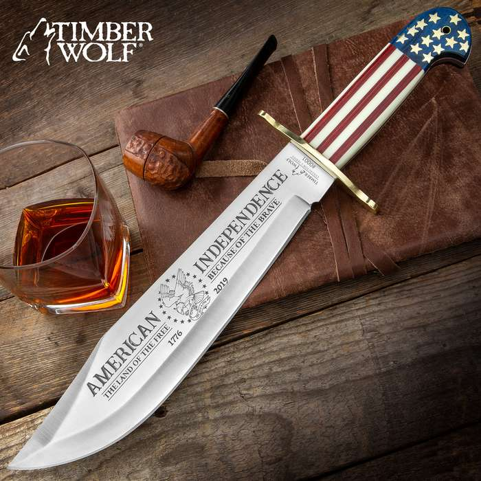 """Timber Wolf 2019 American Independence Bowie With Sheath - 3Cr13 Stainless Steel Blade, Wood And Bone Handle, Brass Guard - Length 16"""""""
