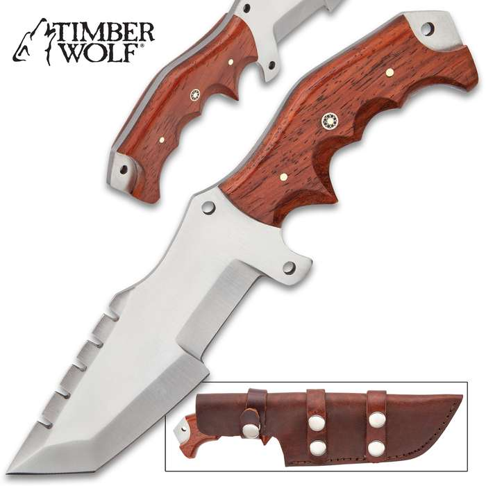 """Timber Wolf White Rhino Knife With Sheath - Stainless Steel Blade, Full-Tang, Wooden Handle, Lashing Holes - Length 9 1/2"""""""