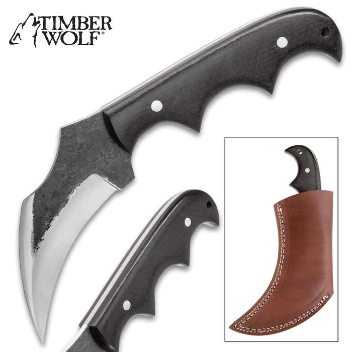 Timber Wolf Talon Fixed Blade Knife And Sheath - Stainless Steel Blade, Wooden Handle Scales, Lanyard Hole - Length 4 1/2""