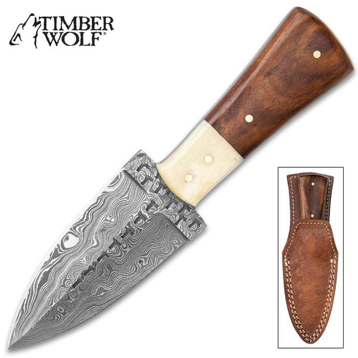 """Timber Wolf Primitive Short Dagger With Sheath - Damascus Steel Blade, Primitive Engraving, Wood And Bone Handle Scales - Length 7"""""""