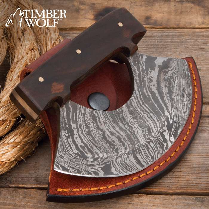 """Timber Wolf Classic Ulu Knife With Sheath - Damascus Steel Blade, Wooden Handle, Brass Pins - Width 3 3/4"""""""