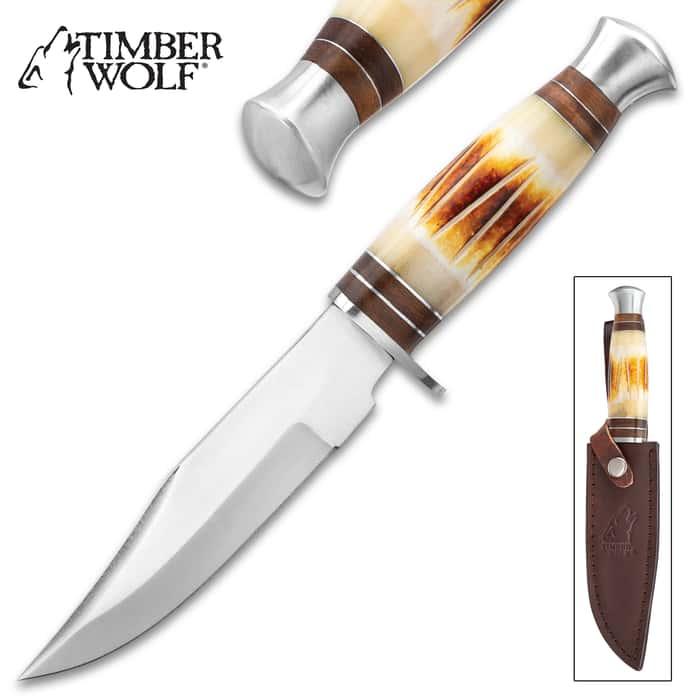 "Timber Wolf Rock Ridge Knife And Sheath - Stainless Steel Blade, Burnt Bone Handle, Stainless Steel Pommel - Length 10 1/4"""