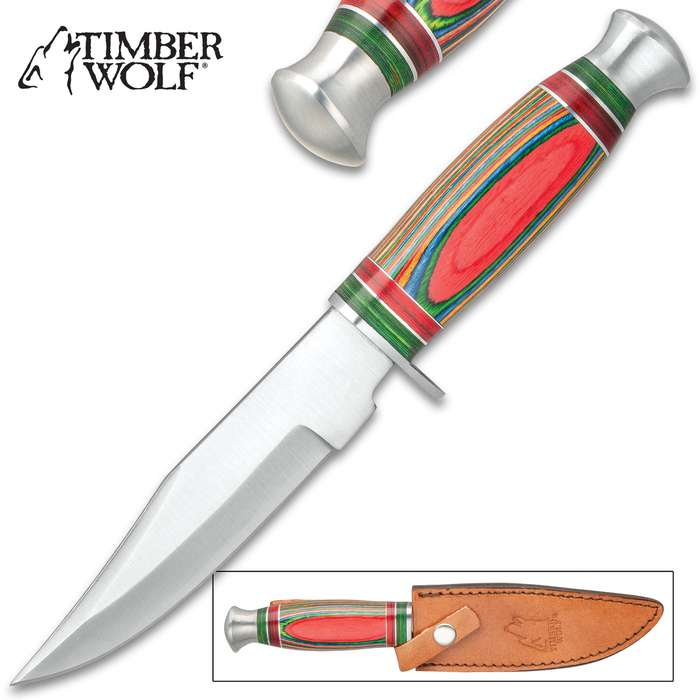"""Timber Wolf Rio Grande Knife And Sheath - Stainless Steel Blade, Colorful Wooden Handle, Stainless Steel Pommel - Length 10 1/4"""""""