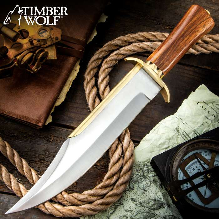 """Timber Wolf Ocean Raider Bowie Knife - Stainless Steel Blade, Wooden Handle, Brass Guard And Spine Accent - Length 15"""""""