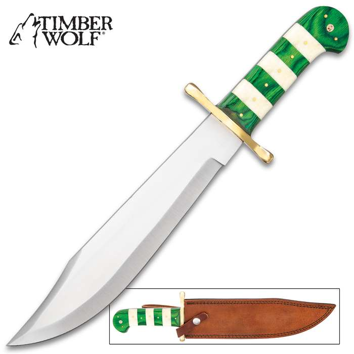"""Timber Wolf Emerald Stripe Bowie Knife And Sheath - Stainless Steel Blade, Bone And Wooden Handle, Brass Guard And Pins - Length 16"""""""