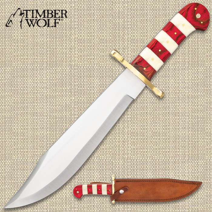 """Timber Wolf Ruby Stripe Bowie Knife And Sheath - Stainless Steel Blade, Bone And Wooden Handle, Brass Guard And Pins - Length 16"""""""