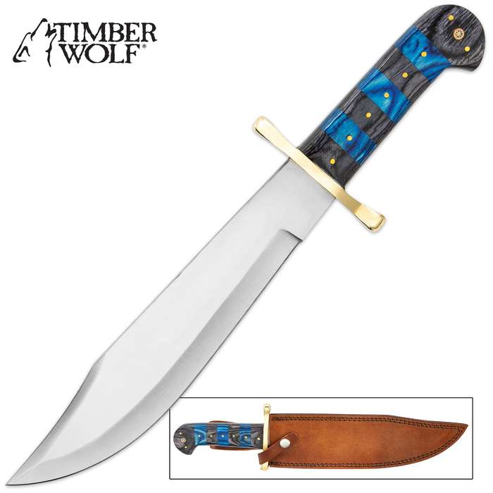 """Timber Wolf Sapphire And Ebony Stripe Bowie Knife - Stainless Steel Blade, Bone And Wooden Handle, Brass Guard And Pins - Length 16"""""""