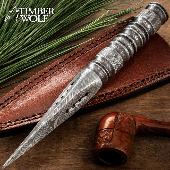 Timber Wolf Rose's Thorn Dagger With Sheath - One-Piece Damascus Steel Construction, Grippy Handle - Length 9""