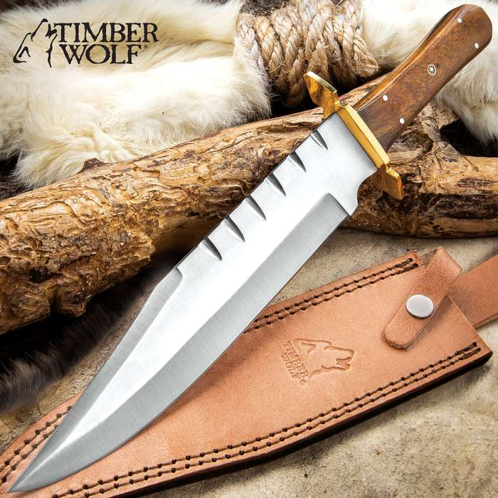 """Timber Wolf Daniel Boone Knife With Sheath - Stainless Steel Blade, Full-Tang, Wooden Handle Scales - Length 14 3/4"""""""
