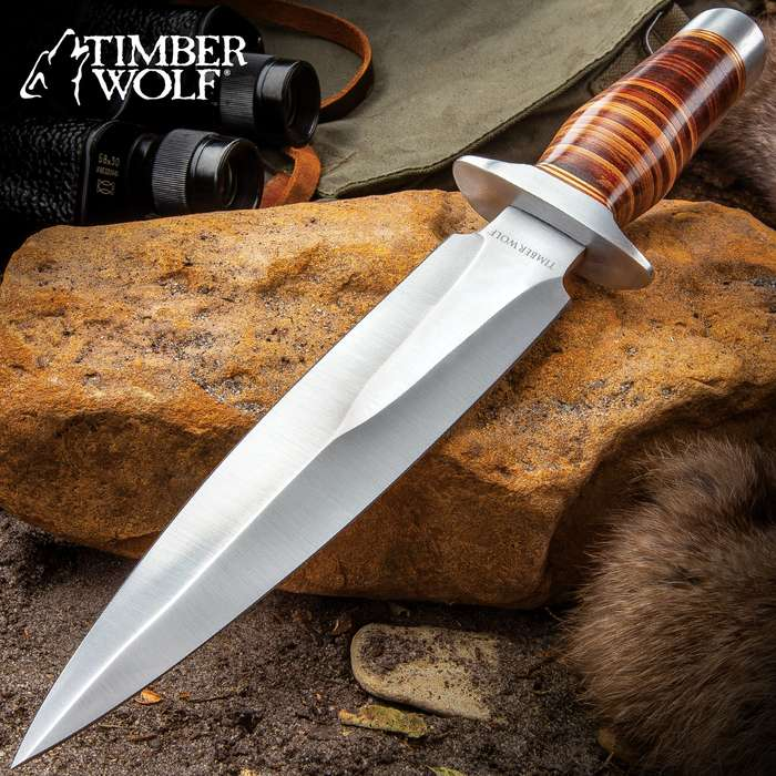 """Timber Wolf Leather Fighter Dagger With Sheath - Stainless Steel Blade, Banded Leather Handle, Stainless Steel Guard - Length 13"""""""