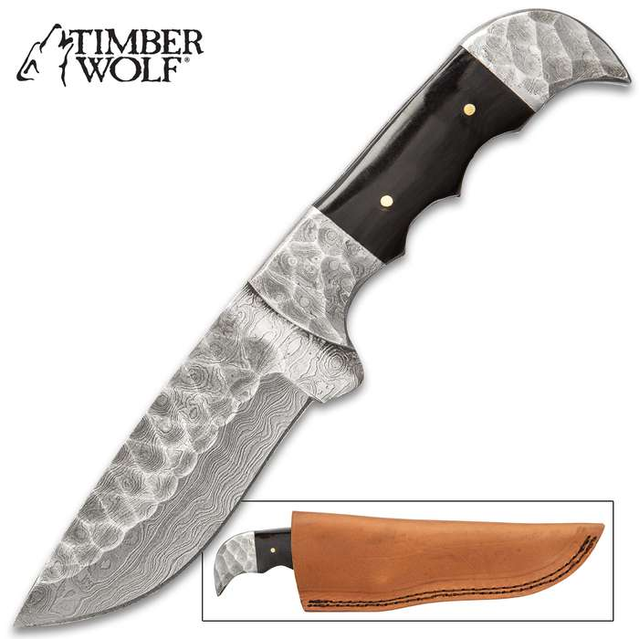 """Timber Wolf Saxon Conqueror Knife - Damascus Steel Blade, Buffalo Horn Handle Scales, Damascus Steel Pommel - Length 9"""""""