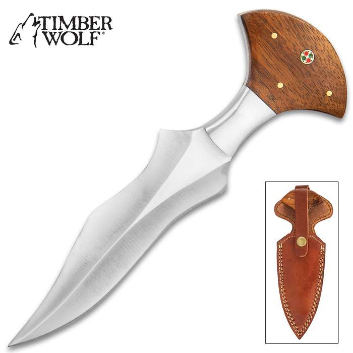 Timber Wolf Kris Push Dagger - Stainless Steel Blade, Full-Tang, Wooden Handle Scales, Brass Pins - Length 7 3/4""