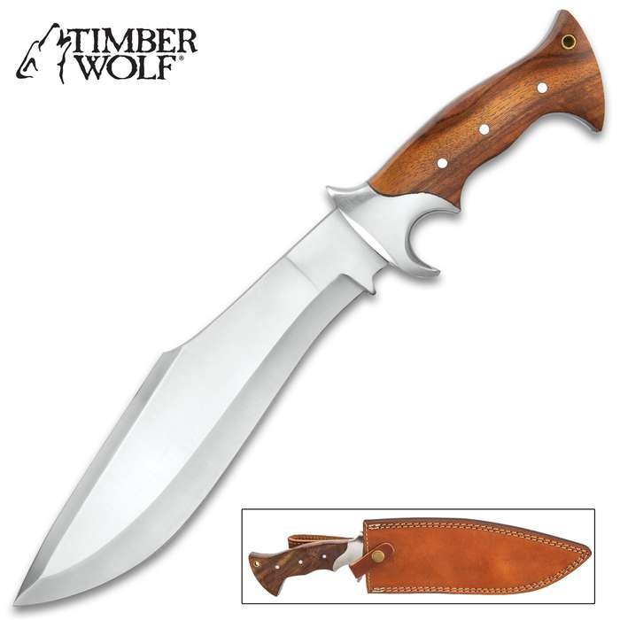 """Timber Wolf Jungle Commander Kukri Knife With Sheath - Stainless Steel Blade, Wooden Handle Scales, Stainless Steel Guard - Length 15 1/4"""""""