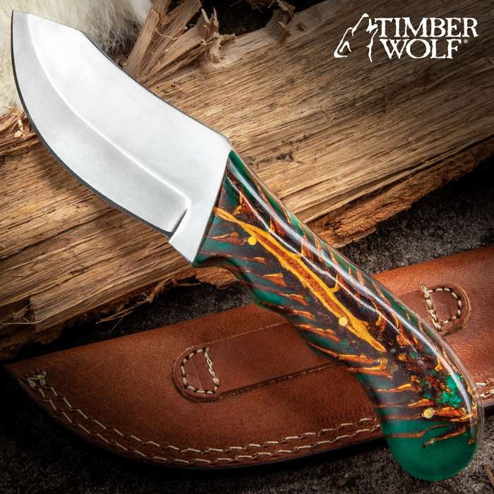 Timber Wolf Conifer Knife - Stainless Steel Blade, Full-Tang, Green Resin Handle Scales, Stainless Steel Pins - Length 9""
