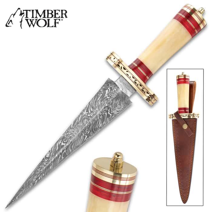 "Timber Wolf Karnak Temple Dagger And Sheath - Fire Pattern Damascus Steel Blade, Natural Bone Handle, Brass Guard - Length 14 1/4"""